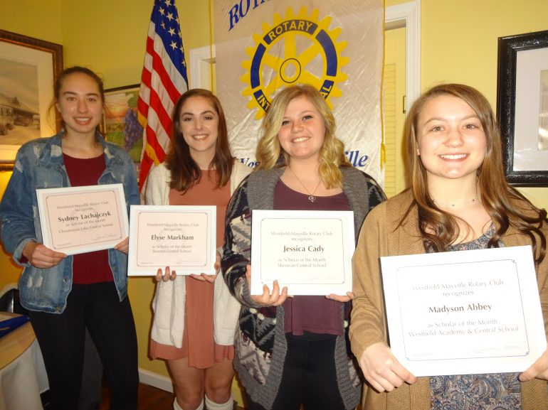 February Scholars of the Month honored  by Westfield-Mayville Rotary Club