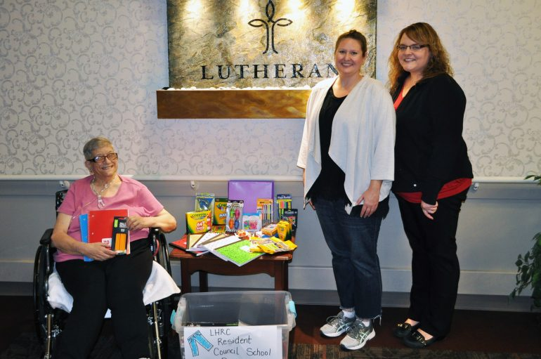 LUTHERAN RESIDENT COUNCIL AND STAFF HOLD SCHOOL SUPPLY DRIVE FOR G.A. LEARNING CENTER